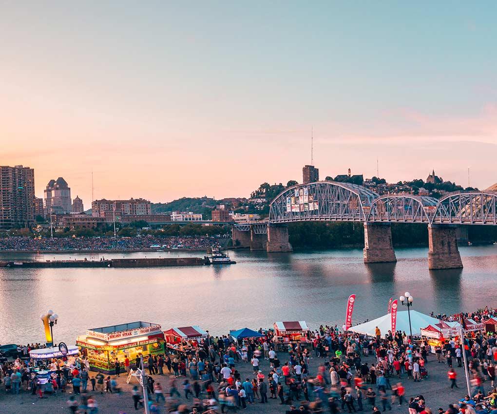 Cincinnati Riverfest for the WEBN Western Southern fireworks on labor day. Home   The Purple People Bridge